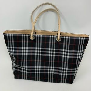 Burberry black nylon check tote